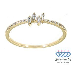 Natural Baguette Diamond Dainty Ring Jewelry - Natural Baguette Diamond Dainty Ring Yellow Gold